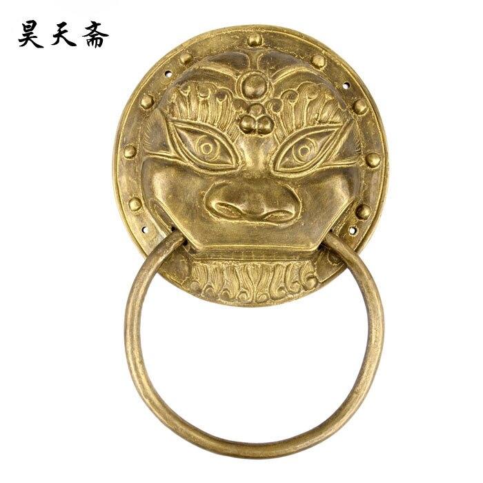 где купить [Haotian vegetarian] antique copper beast handle diameter 23cm / antique furniture, brass fittings HTA-035 дешево
