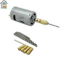 DC 24V Mini Aluminum Electric Hand drill Motor with 3.17mm Brass Collet 10PCS Twist Bits Set For PCB Wood DIY Drilling
