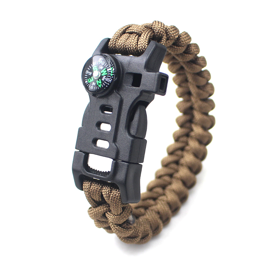 Outdoor Camping Whistle Compass Five In One Multi-function Tool Wilderness Survival Bracelet Emergency Paracord Braided Bracelet