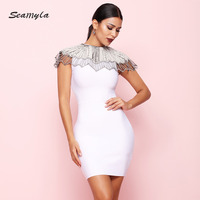 Seamyla 2018 New Celebrity Party Dress Women Sleeveless Beading Appliques Vestidos Sexy Clubwear Runway Bodycon Bandage Dresses
