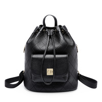 Women's new leather rhombic drawstring bucket type backpack Korean version of the fashion leather bulk wanderer