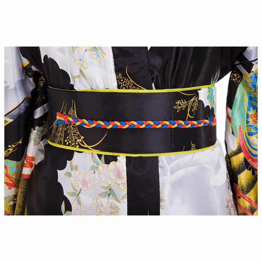 สีดำผู้หญิงผู้หญิงประเพณีญี่ปุ่น Yukata Kimono กับ Obi ดอกไม้ Vintage ชุดราตรีคอสเพลย์เครื่องแต่งกายหนึ่งขนาด ZW01