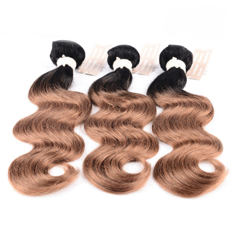CHOCOLATE Malaysian Body Wave Hair Bundles 10~26 Inch Ombre Color 100% Human Hair Weavin ...