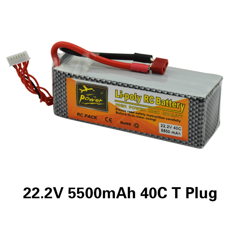 22.2V 5500mAh Lipo Battery T plug XT60 Plug 40C 6S Rechargeable for RC Helicopter Car Boat Part Drone Li polymer Batteries