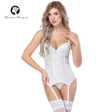 Minifaceminigirl Women High Quality Sexy White Lace Corsets And Bustiers Lace Up Firm Female Corset Push Up Lingerie Bustier high quality openwork lace black spandex corsets garters for women