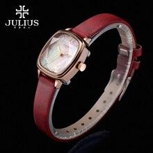 New Julius Lady Women's Wrist Watch Elegant Shell Star Cut Fashion Hours Dress Bracelet Leather Girl Birthday Gift JA-885