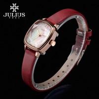 New Julius Lady Women's Wrist Watch Elegant Shell Star Cut Fashion Hours Dress Bracelet Leather Girl Birthday Gift JA 885