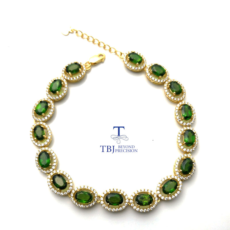 TBJ,Long natural gemstone bracelet with natural russia chrome diopside in 925 sterling silver yellow gold color with gift box TBJ,Long natural gemstone bracelet with natural russia chrome diopside in 925 sterling silver yellow gold color with gift box