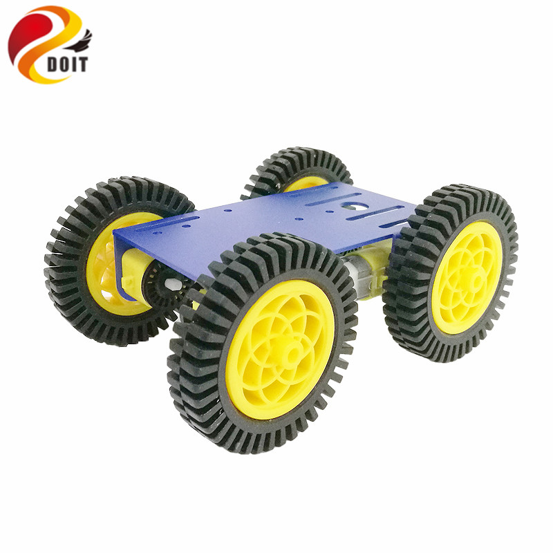 DOIT Newest Smart Robot RC Car Kit with 2mm Aluminum Chassis, 4pcs TT Motor, 4pcs 80mm Rubber Wheel for Arduino Project