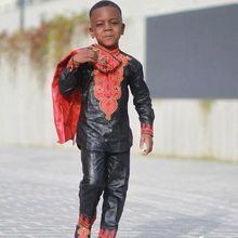 Conjunto de ropa africana para chico dashiki, camisetas de Sudáfrica para niño, trajes de pantalón bordados, traje de otoño TZ8006, 2020