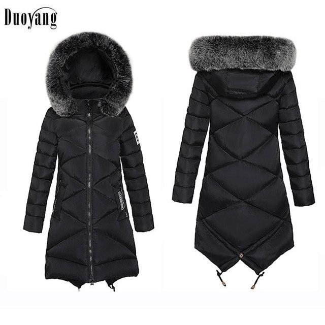 Women Winter Jacket 2017 South Korean Style New Cotton Overcoat Long Thick Warm Abrigo Plus size Hooded Fur collar