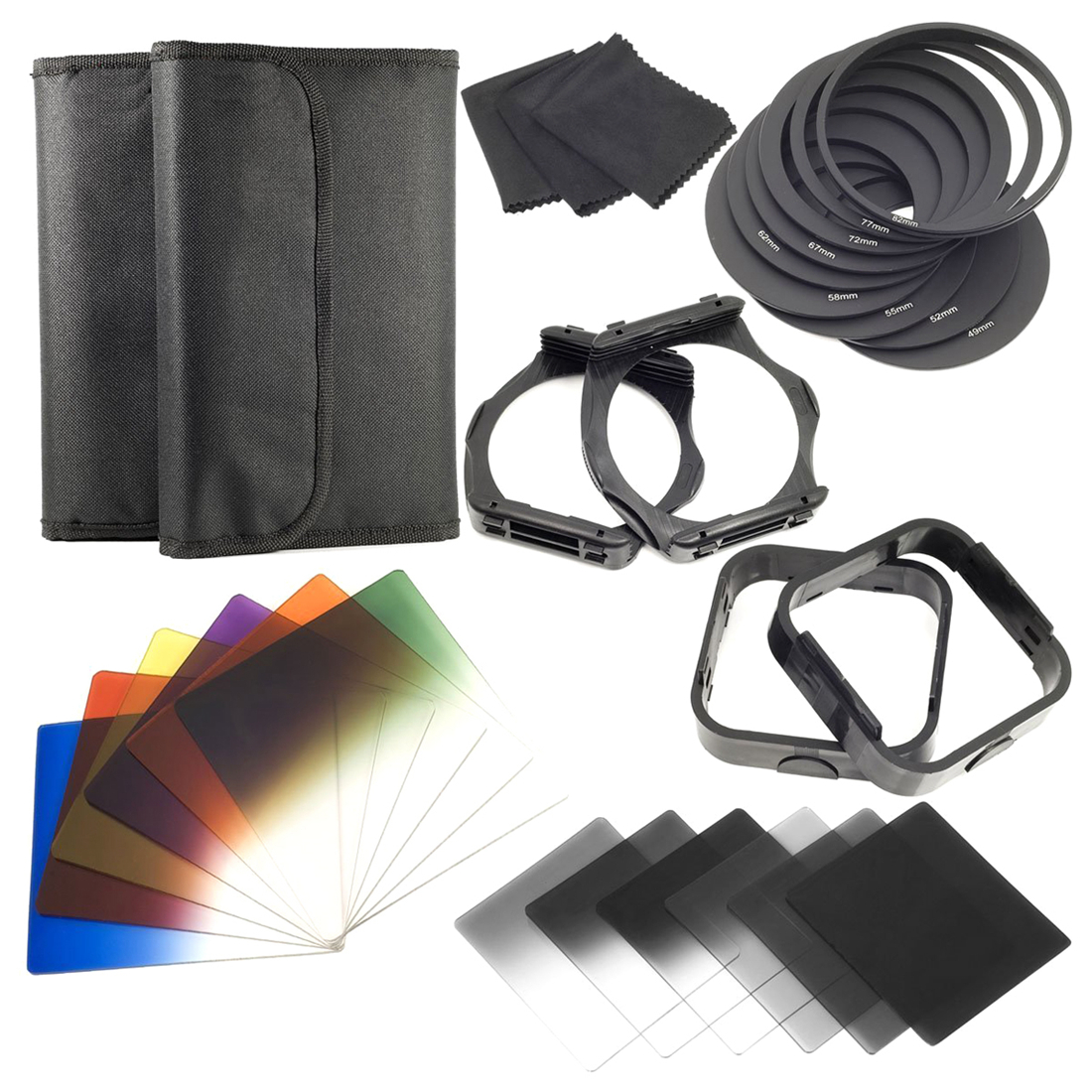 SCLS 1 set Filtres + Anneau Adaptateur POUR cokin série p LF142, 6 pcs ND Filtres + 6 pcs Couleur Progressive Filtre + 9 pcs Anneau Adapter