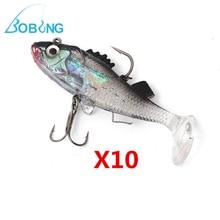10Pcs/lot Hot sale Paillette Fishing Lure 7.6cm Artificial Soft bait Carp Crankbait with Treble Tackle Hooks Fishing accessories