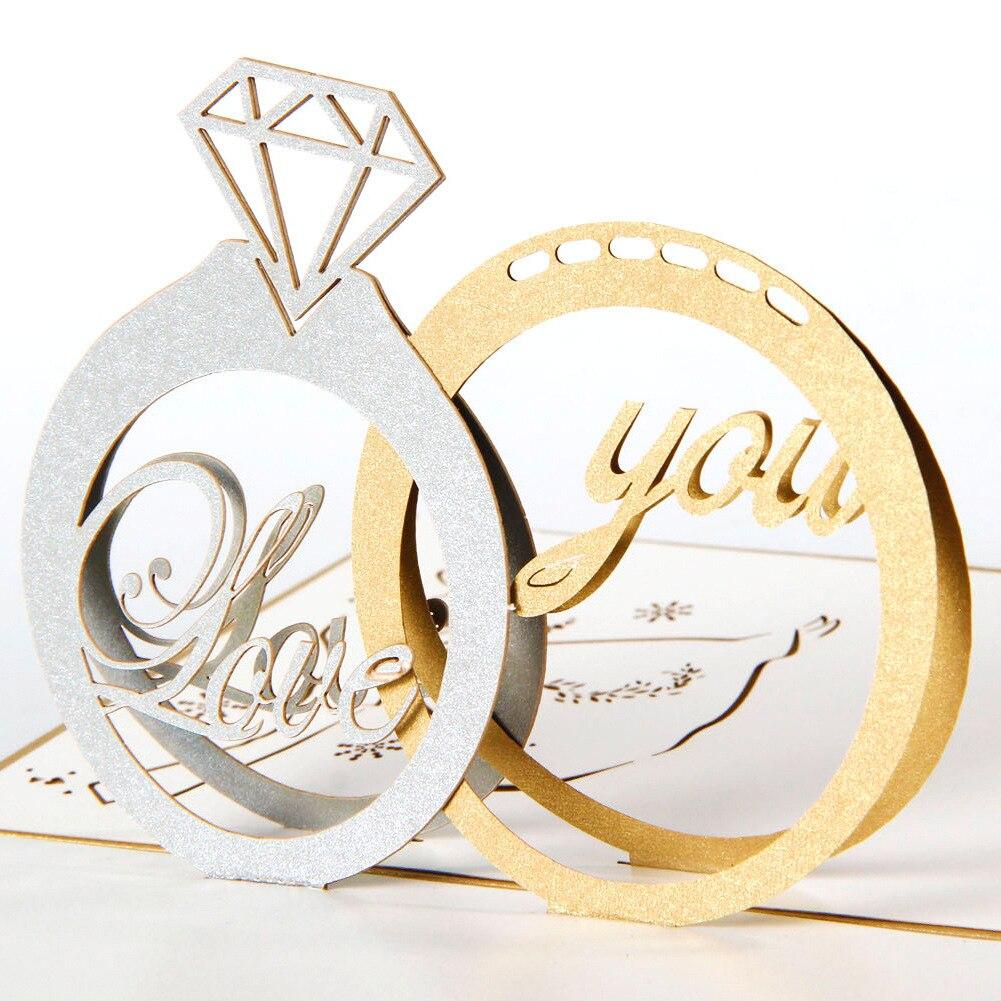 5pcslot Exquisite Laser Cut Wedding Invitations Chic Diamond Ring