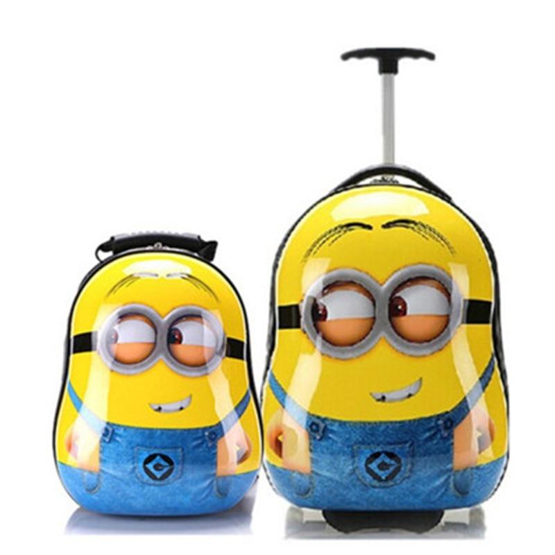 Minions 3D Backpack Kids Trolley Bag On Wheel Rolling School Bag With Wheels  Lovely Satchel School Knapsack Baby Bag