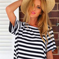 Summer Style 2015 New Women's T shirt Back cross Striped Short-sleeved Backless T-shirt Cotton Loose Casual Tops S M L XL F26