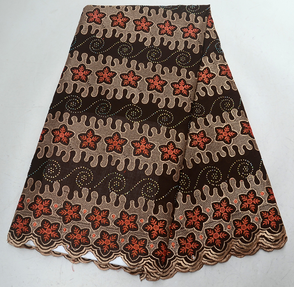 High Quality Swiss Voile Lace 2019 African Brown Voile Dry Cotton Lace Fabric with Stones Nigerian Lace For Party DressHigh Quality Swiss Voile Lace 2019 African Brown Voile Dry Cotton Lace Fabric with Stones Nigerian Lace For Party Dress