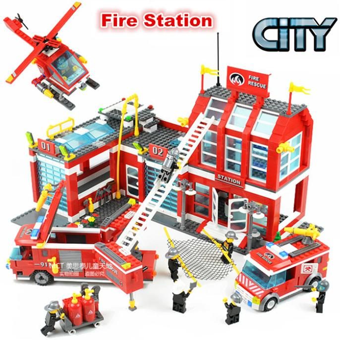 City Set Series Fire Station Rescue Control Regional Bureau 911 Toys Building Lepin 60004 Blocks Compatible With Lego lepin 02012 city deepwater exploration vessel 60095 building blocks policeman toys children compatible with lego gift kid sets
