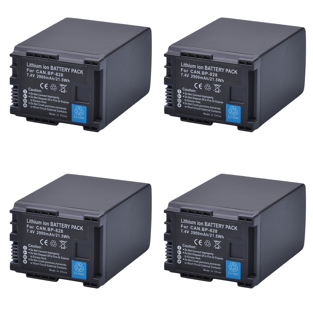 4Pcs 7.4V 2900mAh BP-828 BP 828 BP828 Camera Battery for Canon HFS30 HF20 HG20 G30 G40 XA20 XA25 HFM300 HFM30 HFG30 HFG10 HFM40 bp828 replacement 7 4v 2920mah li ion battery for canon xa25 xa20 hfg30 black
