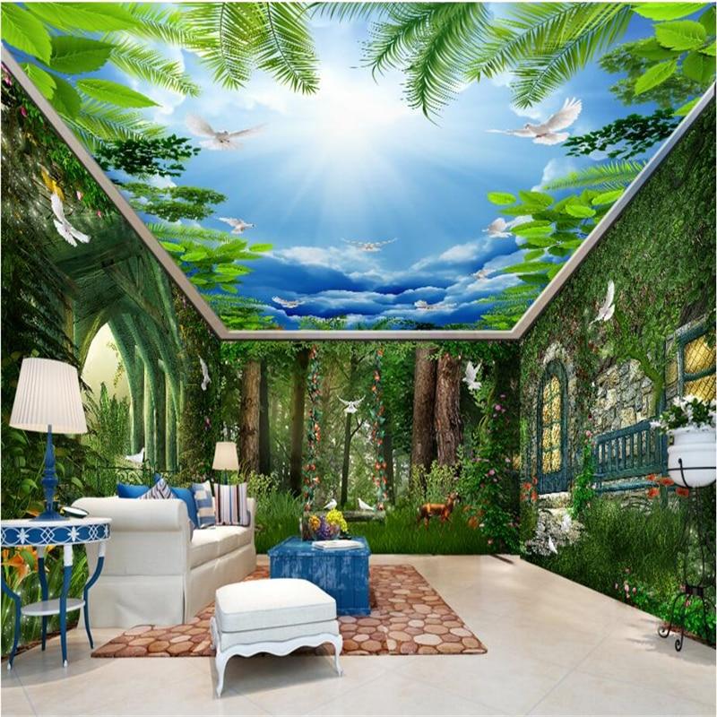 Beibehang Forest Dream Hut Swing Flower Vine 3d Wallpaper