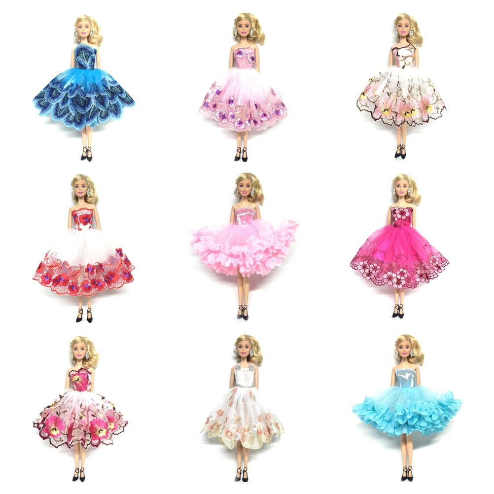 One-piece Newest Multi-layer Dress For  Doll Party Dresses Off-shoulder Clothes For 1/6 BJD Dolls Accessories Kids Toy