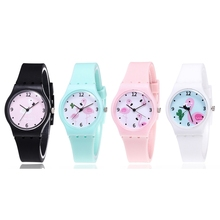 New Silicone Candy Jelly Color Student Watch Girls Clock Fashion Flamingo