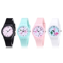 New Silicone Candy Jelly Color Student Watch Girls Clock Fashion Flamingo Watches Children Wristwatch Cartoon Kids Quartz Watch