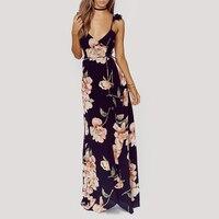 Vintage Floral Print Summer Long Maxi Dress Sling Strap Sexy Women Causal Dress Plus Size Beach