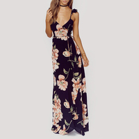 Vintage Floral Print Summer Long Maxi Dress Sling Strap Sexy Women Causal Dress Plus Size Beach