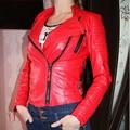 Women faux leather jacket long sleeve PU coat red big size XL plus size motorcycle biker jaquetas casacos de couro feminine