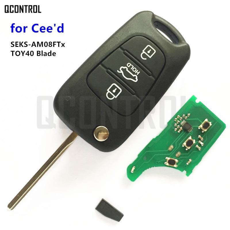 QCONTROL 433MHz Car Remote Key for KIA CEED Pro Ceed Cee'd SW SEKS-AM08FTx CE0678 TOY40 Key Blade 2009 2010 2011 2012