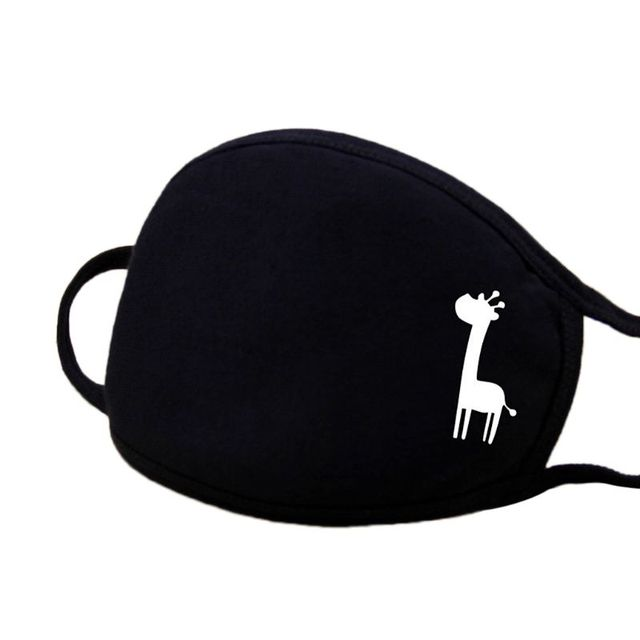 1Pc Unisex Winter Warm Thickening Half Face Mouth Mask Cotton Cartoon Pattern Anti-Dust Anti-Bacterial Respirator Classic Black 4