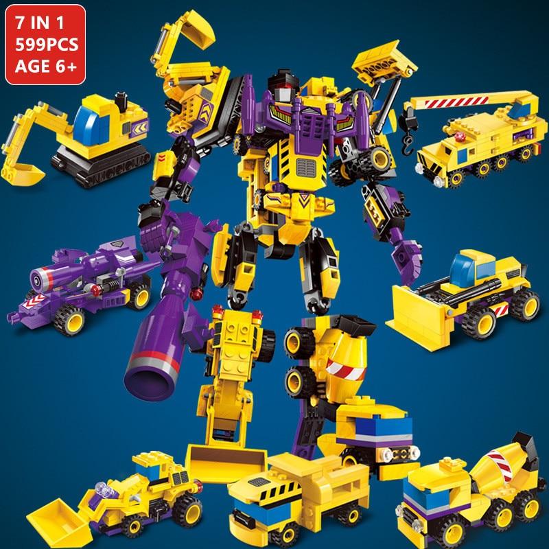 599 pièces Méca Ensembles de Blocs De Construction Robot Transformateur Camion Héros Destructeur Arès Voitures Véhicules Briques Jouets pour Enfants