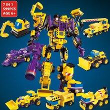 599Pcs Mecha Building Blocks Sets Robot Transformer Truck Hero Destroyer Ares Cars Vehicles LegoINGLs Bricks Toys for Children