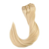 Full Shine Remy Human Hair Clip in Blonde Extensions Color #613 9 Pcs 120g 26in