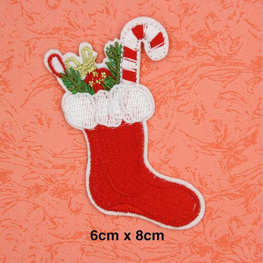 embroidered christmas stocking tree patch clothes stickers bag sew iron on applique diy apparel sewing clothing accessories bu38 in patches from home - Embroidered Christmas Stocking