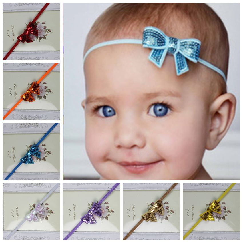 Cute Infant flower headband Sequin bow headbands Babies Children hairband Toddler Baby girls bow headband   Headwear   Accessoires
