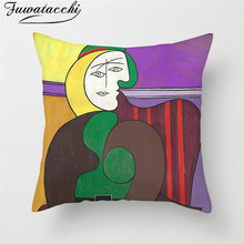 Fuwatacchi Famous Oil Painting Cushion Cover Girl Plant Animal Pillow Cover for Home Car Chair Sofa Decorative Pillows Cover fuwatacchi black gold foil linen cushion cover leaf flowers diamond pillow cover for home chair sofa decorative pillows 45 45cm