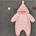 Милый Зимний Baby Rompers Новорожденных Костюм Зимняя Одежда Snowsuit Мех Пальто Перчатки Обувь Мальчики Девочки Комбинезон Для Малыша