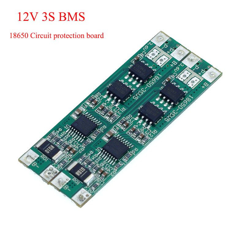 2pcs 3S <font><b>12V</b></font> 18650 lithium battery circuit protection board <font><b>BMS</b></font> 2MOS 10A discharge current DIY 10.8V 11.1V 12.6V battery pack image