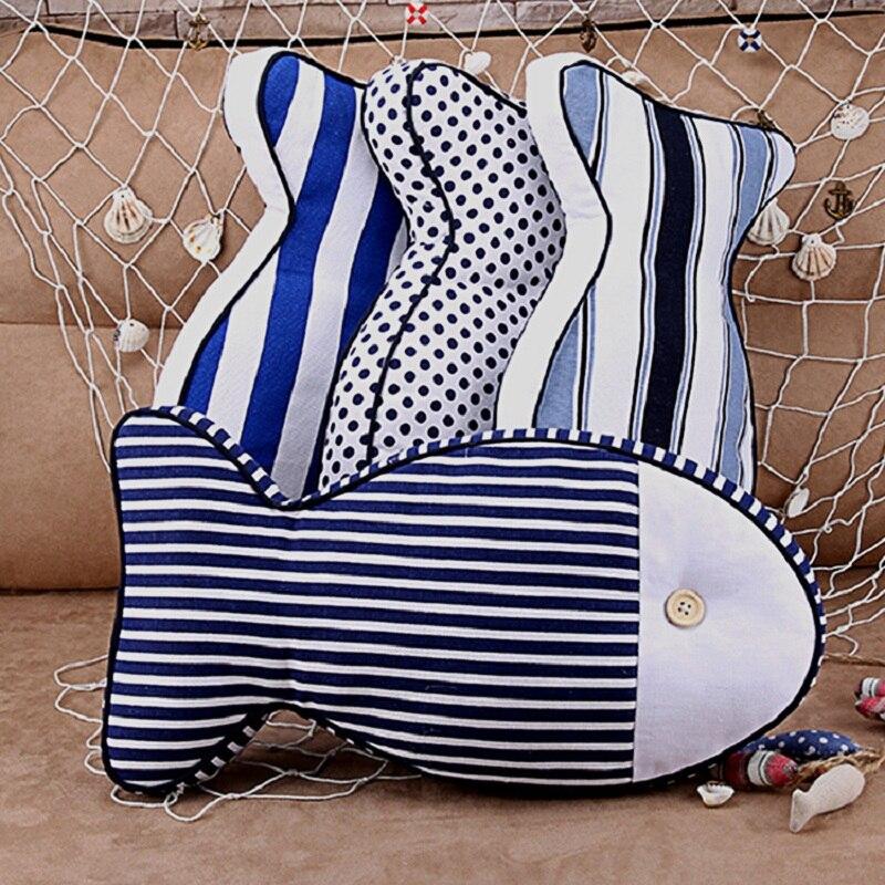 Mediterranean style Home decoration Creative pillow Cartoon Car cushion Anime Striped fish pattern pillow custom made