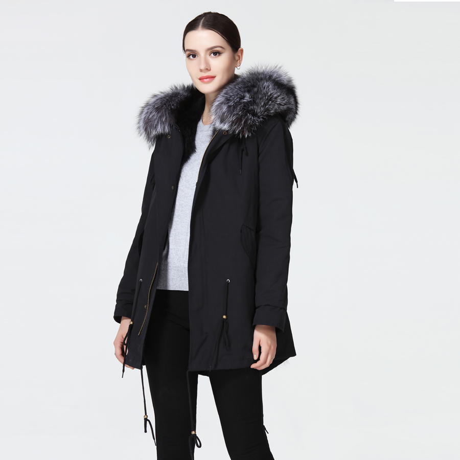 Women's park with natural fur real fur coat women's winter jacket with hood three colors.