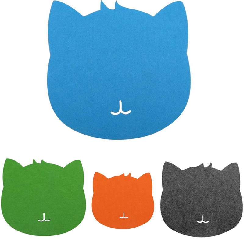 Hot Selling New Felt Cloth 200*200*3mm Universal Cute Cat Mouse Pad Mat For Laptop Computer Tablet PC