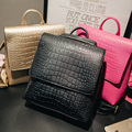 Gold Alligator PU Leather Women Backpack Solid Simple Schoolbag Designer Backpack Girl Shoulder ladies bag Travel  Bagpack