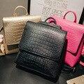 Ouro Jacaré PU LEATHER Mulheres Backpack Sólidos Simples Mochila Designer De Mochila Menina bolsa de Ombro senhoras saco de Viagem Bagpack