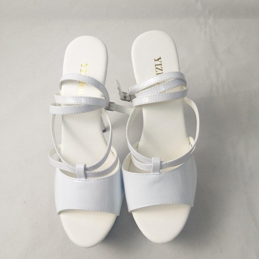 Schuhe Hergestellt T 15 SchwarzWei Mode China Frauen Clubbing Zoll CM Sandalen Exotische 6 In Lace up Kristall Sexy Plattform nzer 5jcLqA34R