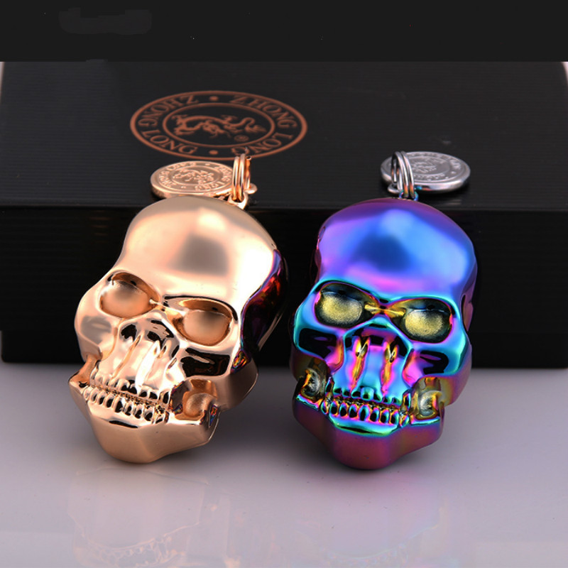Fashion Skull Electronic USB Lighters With Key Ring Windproo