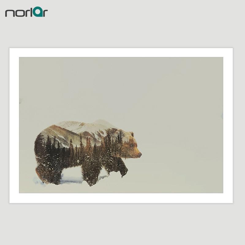 HD çap kətan Rəsm Divar İncəsənət Şəkli Ayı Qurd və - Ev dekoru - Fotoqrafiya 3