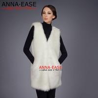 Plus Size 5XL 6XL White Black Fur Vest Women Faux Fur Gilet Coat V Neck Long Fake Fur Vest Fur Waistcoats Jacket