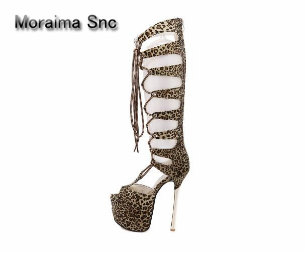 Moraima Snc brand summer lace up over the knee boots sexy Leopard high heels shoes women platform sandals girls sapatos mulher platform sandals summer long boots gladiator sandals women high heels leopard shoes sandalias femininas lace up high boots d536